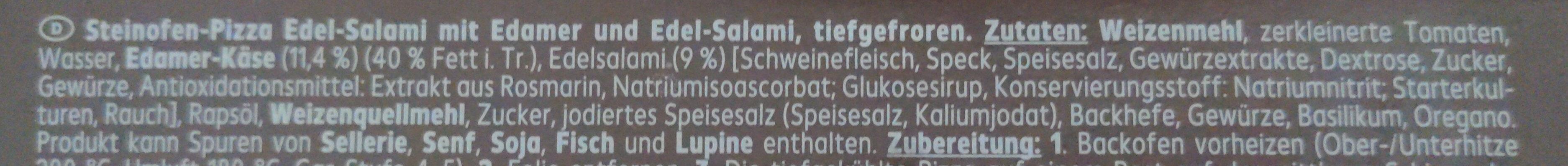 Pizza aus dem Steinofen Edel-Salami - Zutaten - de