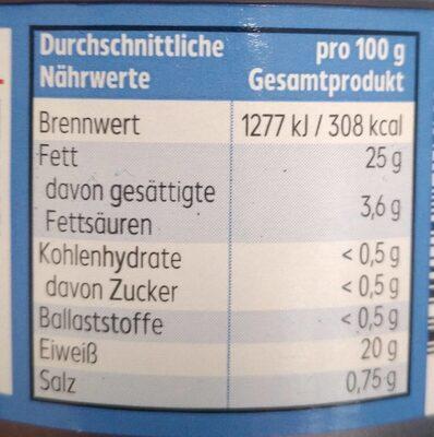 Thunfisch Filets in nativen Olivenöl extra - Nährwertangaben - de