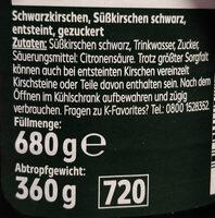 Schwarzkirschen Süßkirschen schwarz - Inhaltsstoffe - de