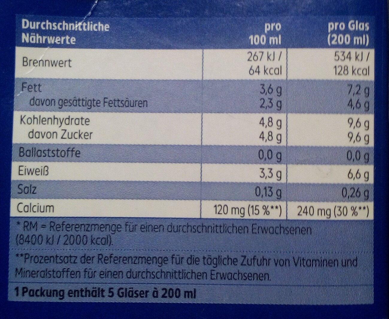 Haltbare Voll-Milch - Informations nutritionnelles - de
