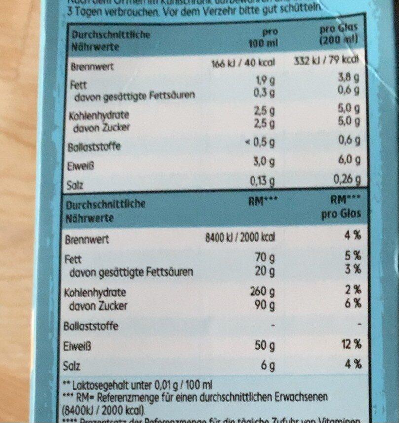 Take it veggie bio soya milk - Nutrition facts - de