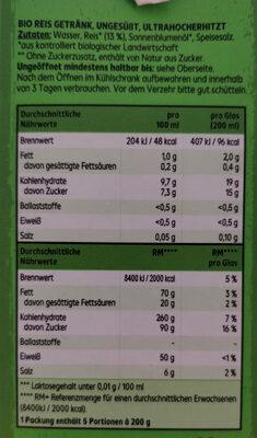 Bio Reisdrink - Zutaten - de