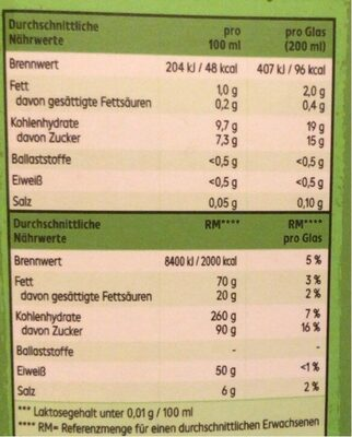 Bio Reisdrink - Nährwertangaben - de