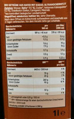 Bio Haferdrink Kakao - Ingredients - de
