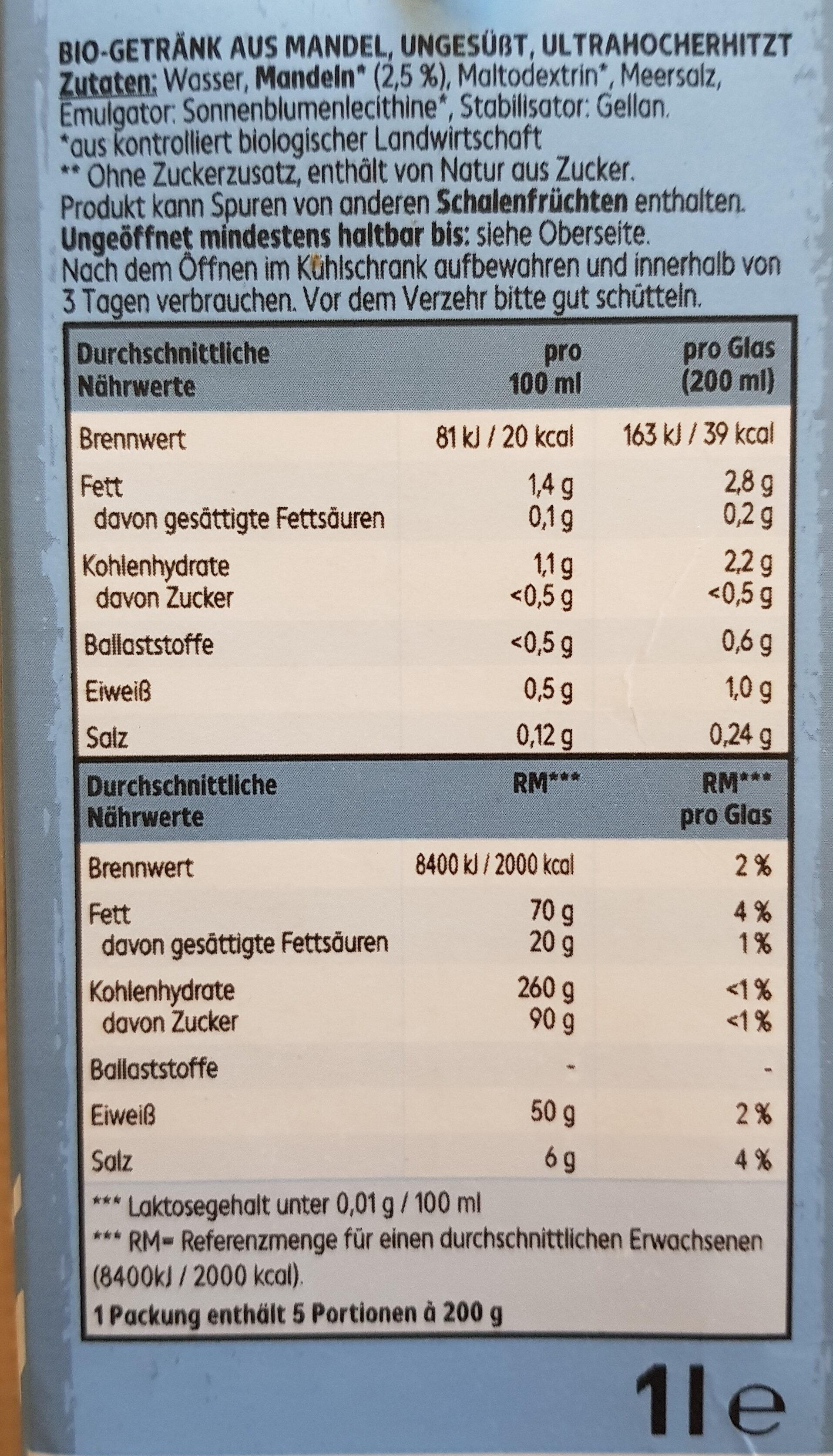 Bio MandelDrink ungesüsst - Inhaltsstoffe - de