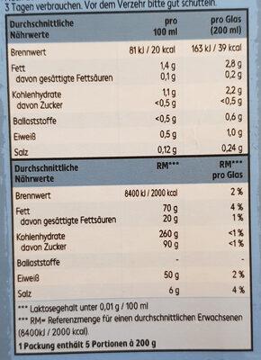 Bio MandelDrink ungesüsst - Nährwertangaben - de