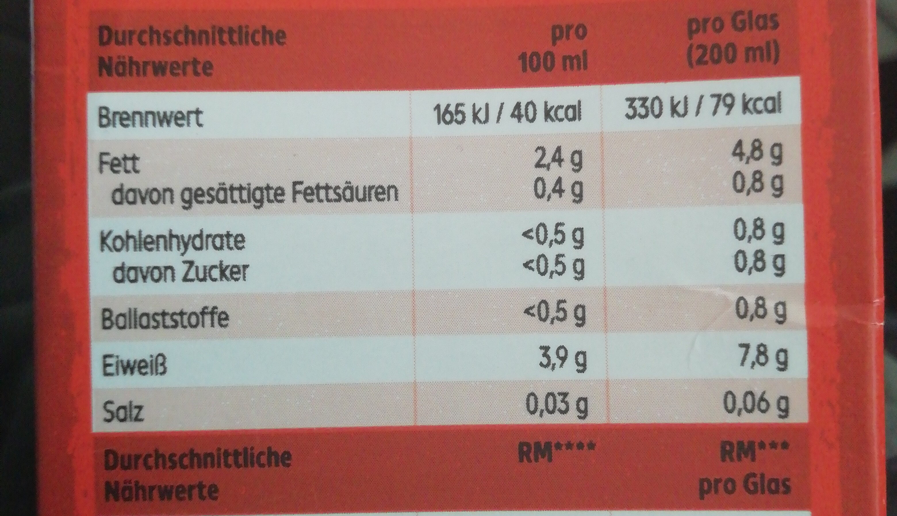 Soja Drink ungesüßt - Nutrition facts - de