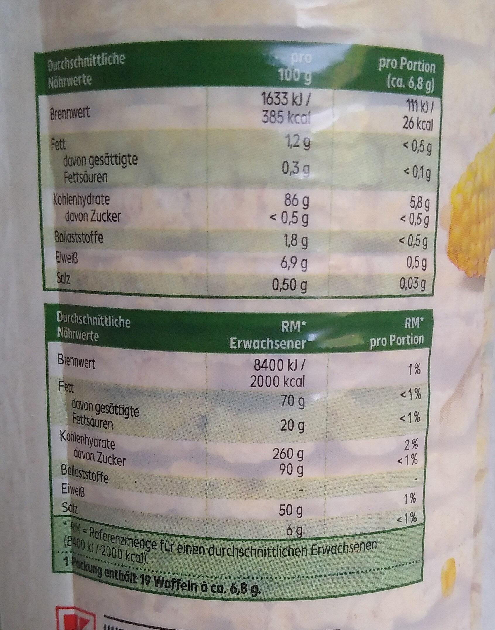 Maiswaffeln mit Meersalz - Nutrition facts - de