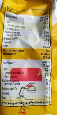 Mischung von Nusskernen, getrockeneten Früchten und Bananenchips - Nutrition facts - de