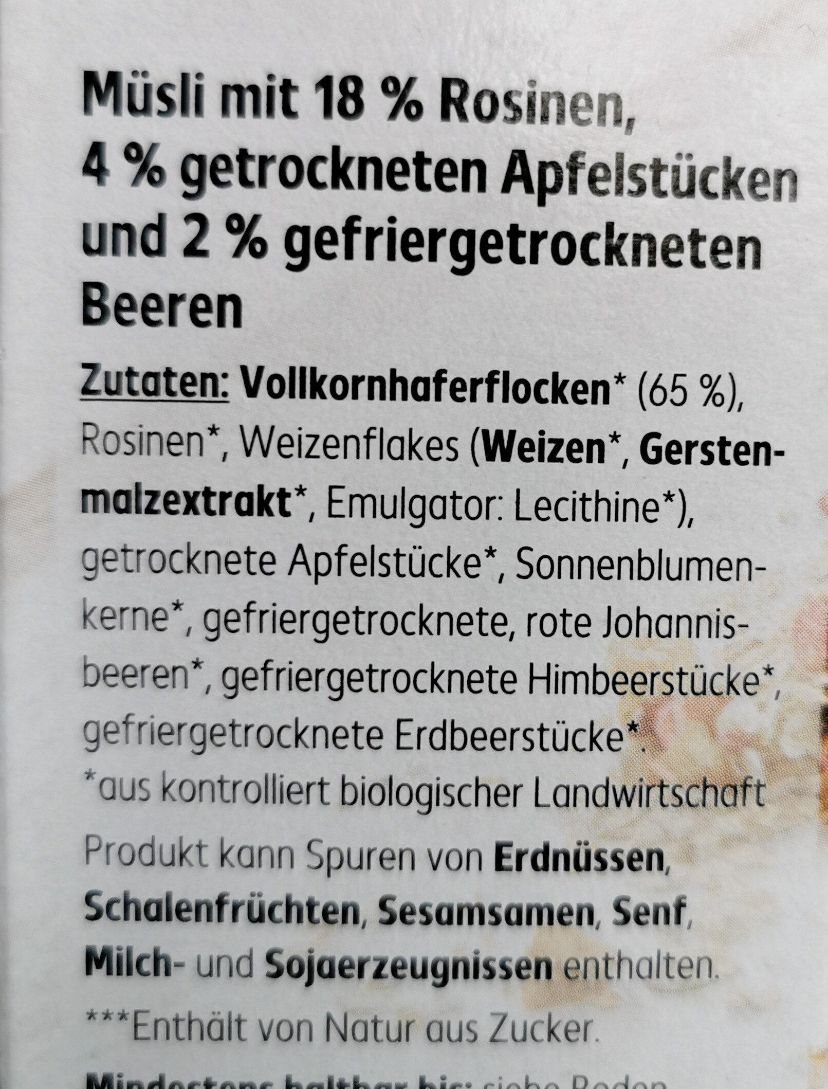 Beeren Müsli - Zutaten - de