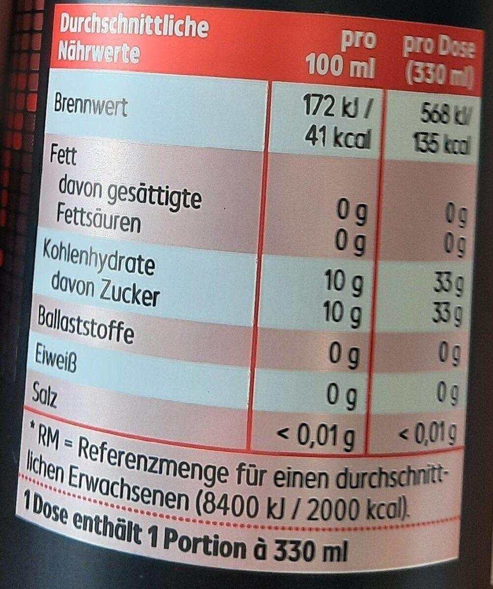 Strong Cola - Valori nutrizionali - de