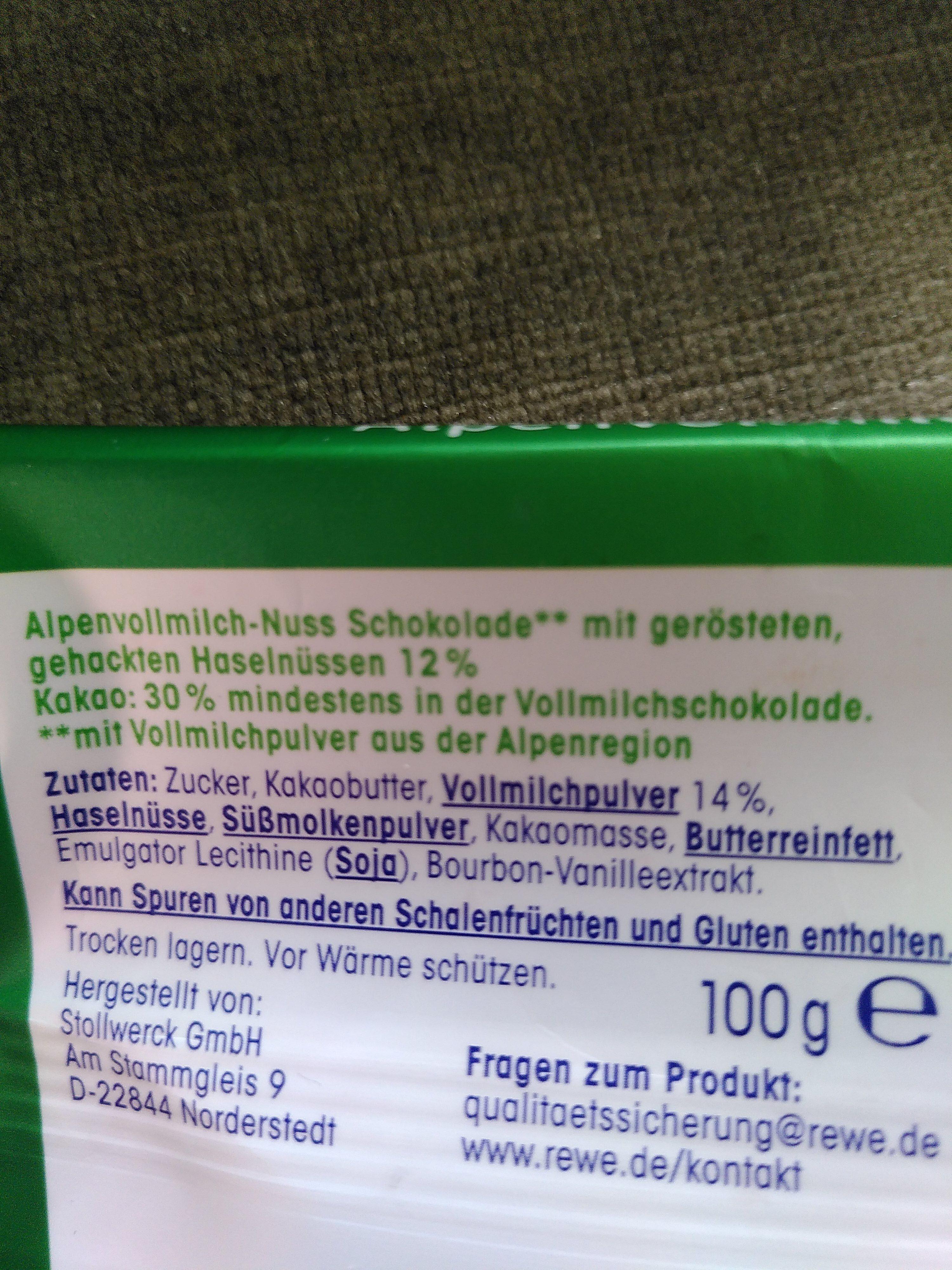 Alpen-Vollmilch Haselnuss - Ingrediënten - de
