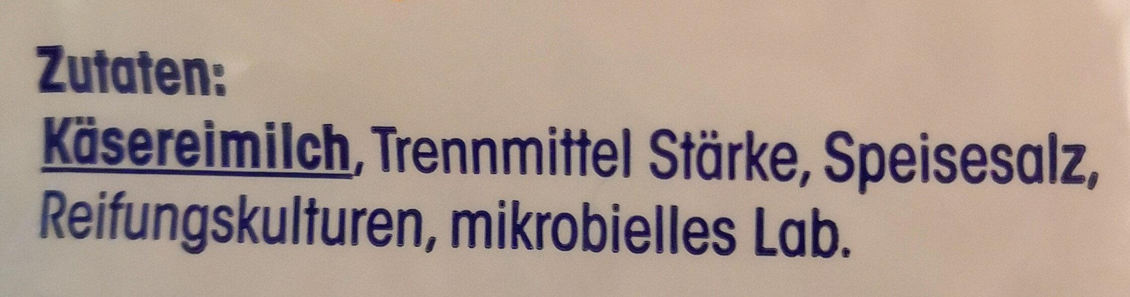 Geriebener emmentaler - Ingredients - de