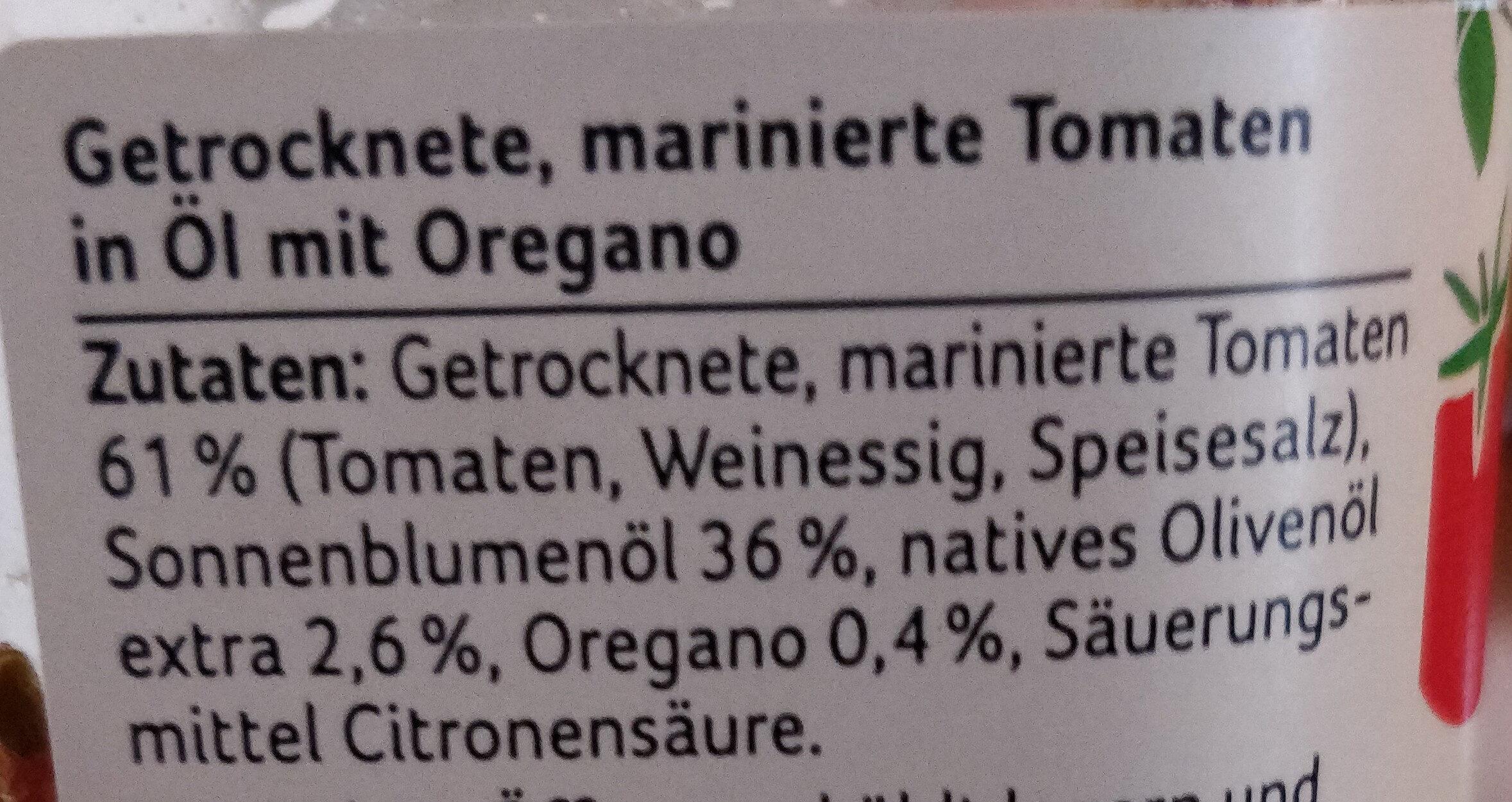 getrocknete Tomaten in Öl mit Oregano - Ingredients - de