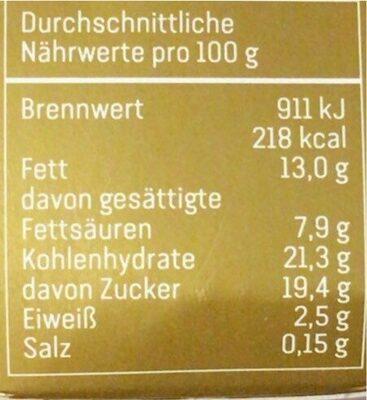 Vanille-Sahnecreme auf Apfel-Karamell Kompott - Nutrition facts - de