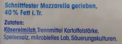 Geriebener Mozzarella - Ingredients