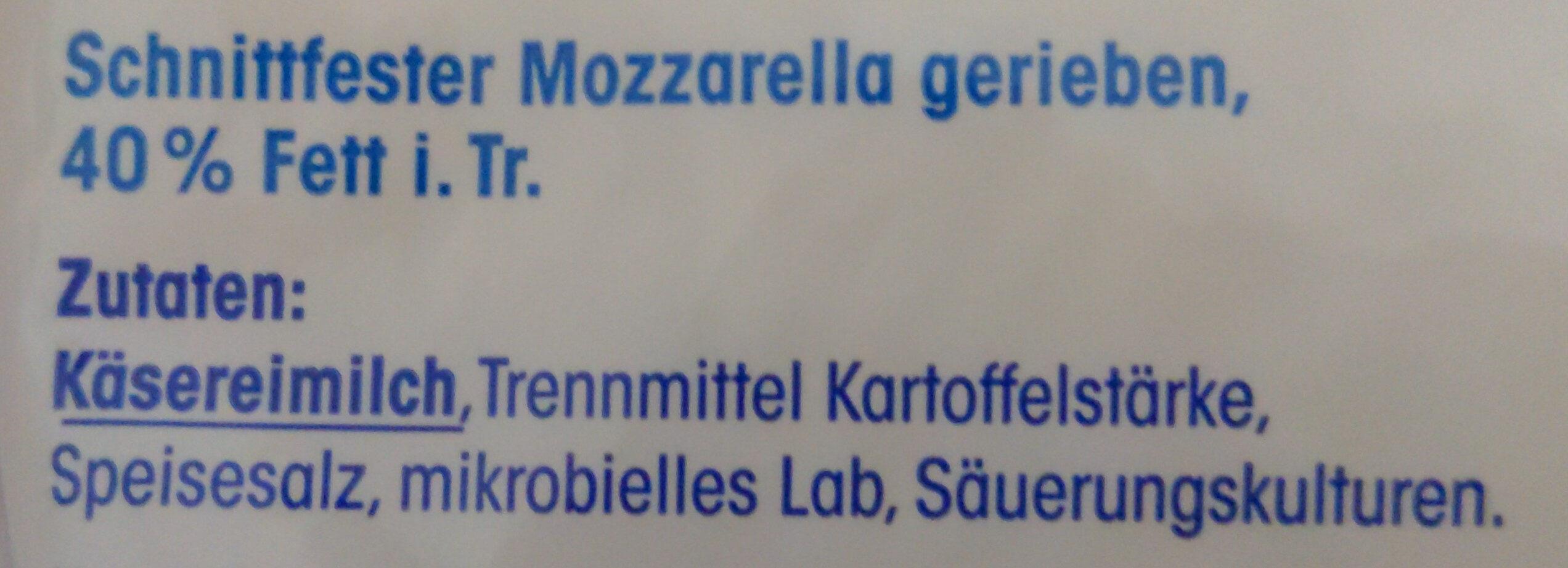 Geriebener Mozzarella - Ingredients - de