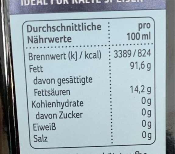 Griechisches Natives Olivenöl Extra - Valori nutrizionali - de