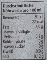 Mandel Drink Natur - Informations nutritionnelles - de
