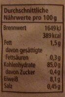 Maiswaffeln mit Meersalz - Nährwertangaben - de