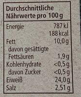 Räucherlachs - Valori nutrizionali - de