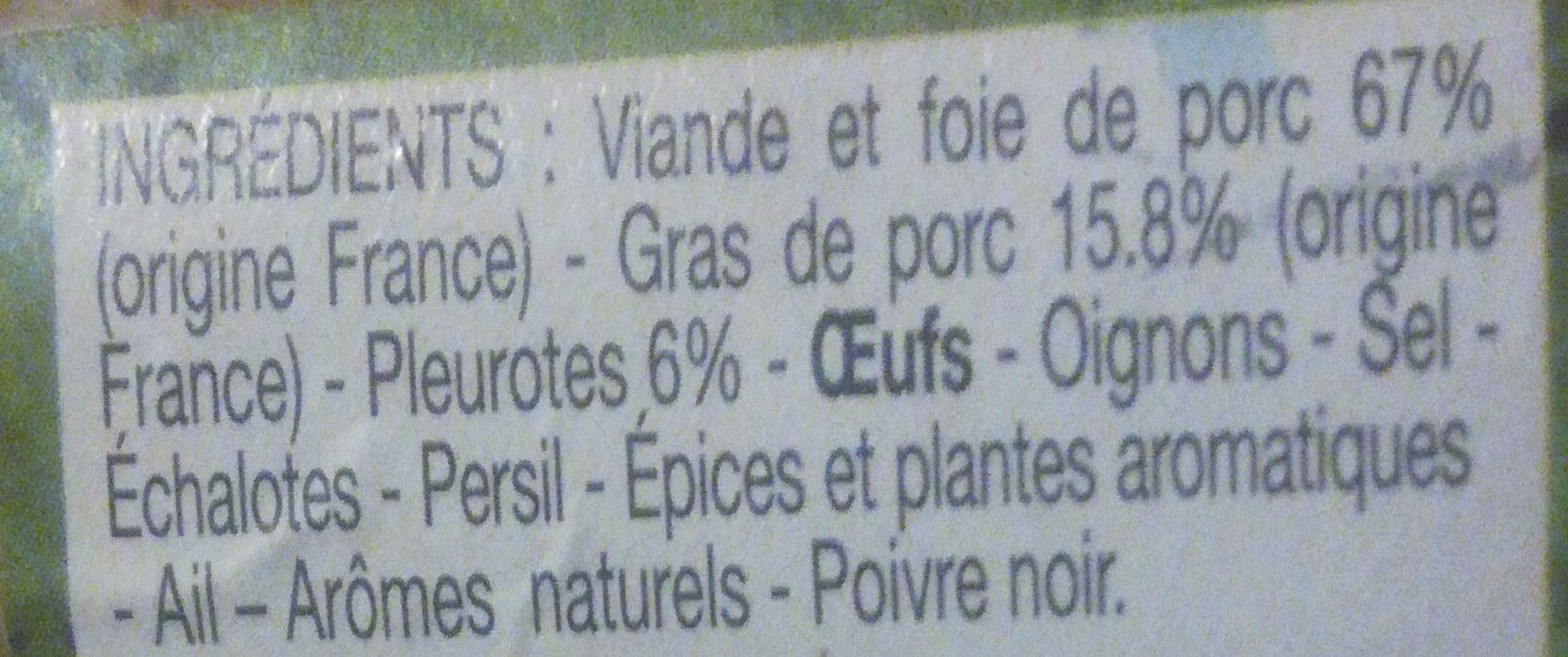 Terrine bourguignonne aux pleurotes - Ingrédients - fr