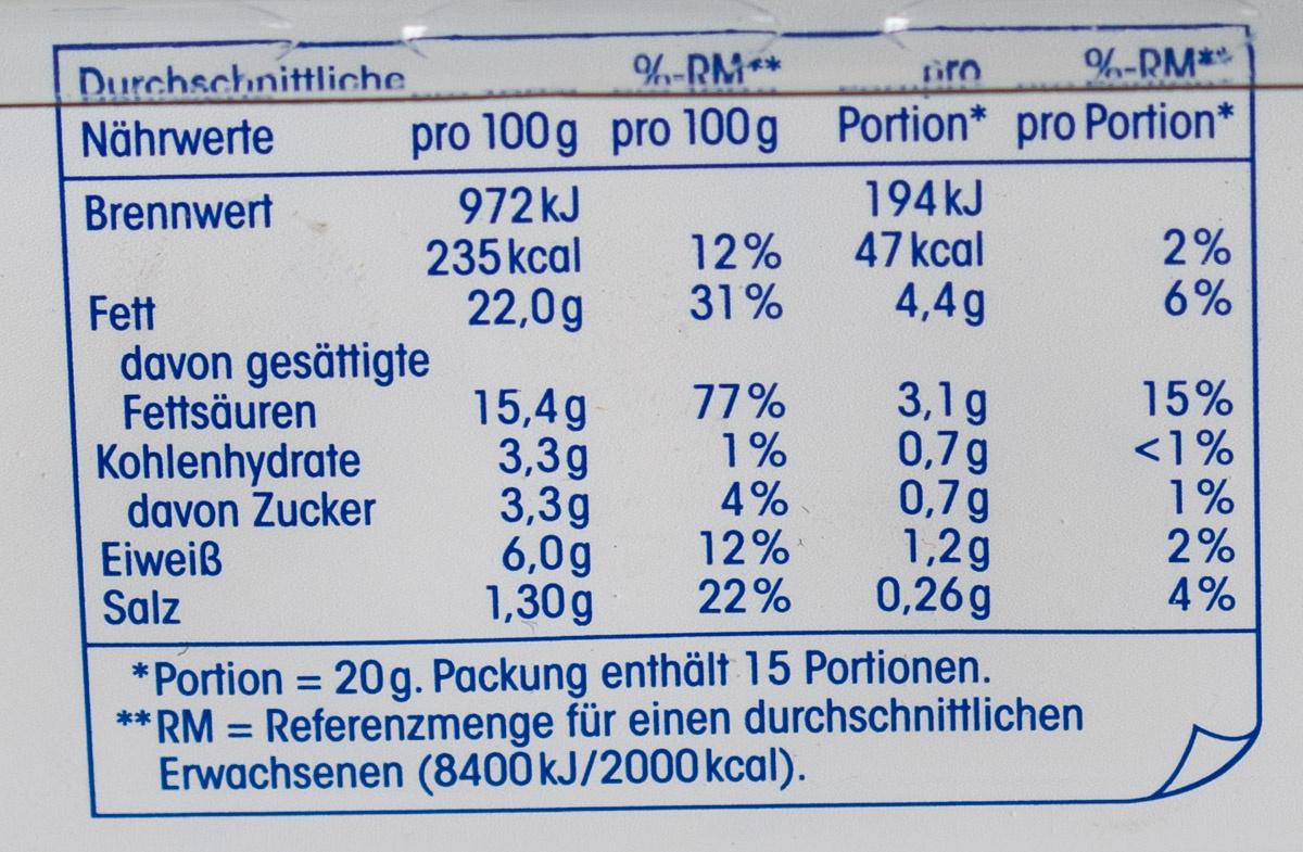 Kräuter Frischkäse - Informations nutritionnelles