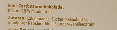 58% Kakao Edel Zartbitter - Ingredients - de