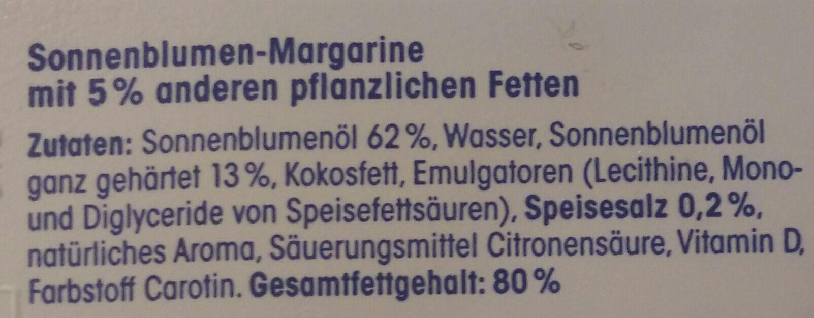 Sonnenblumen Margarine - Ingrediënten - de