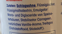 Sprühsahne - Ingrediënten