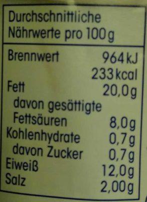 Bockwürstchen - Informations nutritionnelles - de