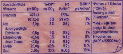 Delikatess Kochschinken - Nutrition facts - de