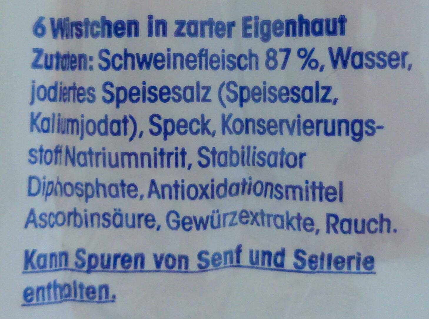 Delikatess Würstchen - Ingredients - de