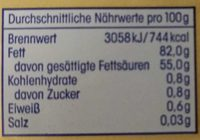 Deutsche Markenbutter mild gesäuert - Nutrition facts - de