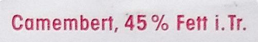 Camembert 45% Fett i. Tr. - Ingredienti - de
