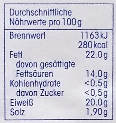 Camembert 45% Fett i. Tr. - Informazioni nutrizionali - de