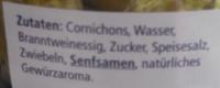 Cornichons süß-sauer - Inhaltsstoffe