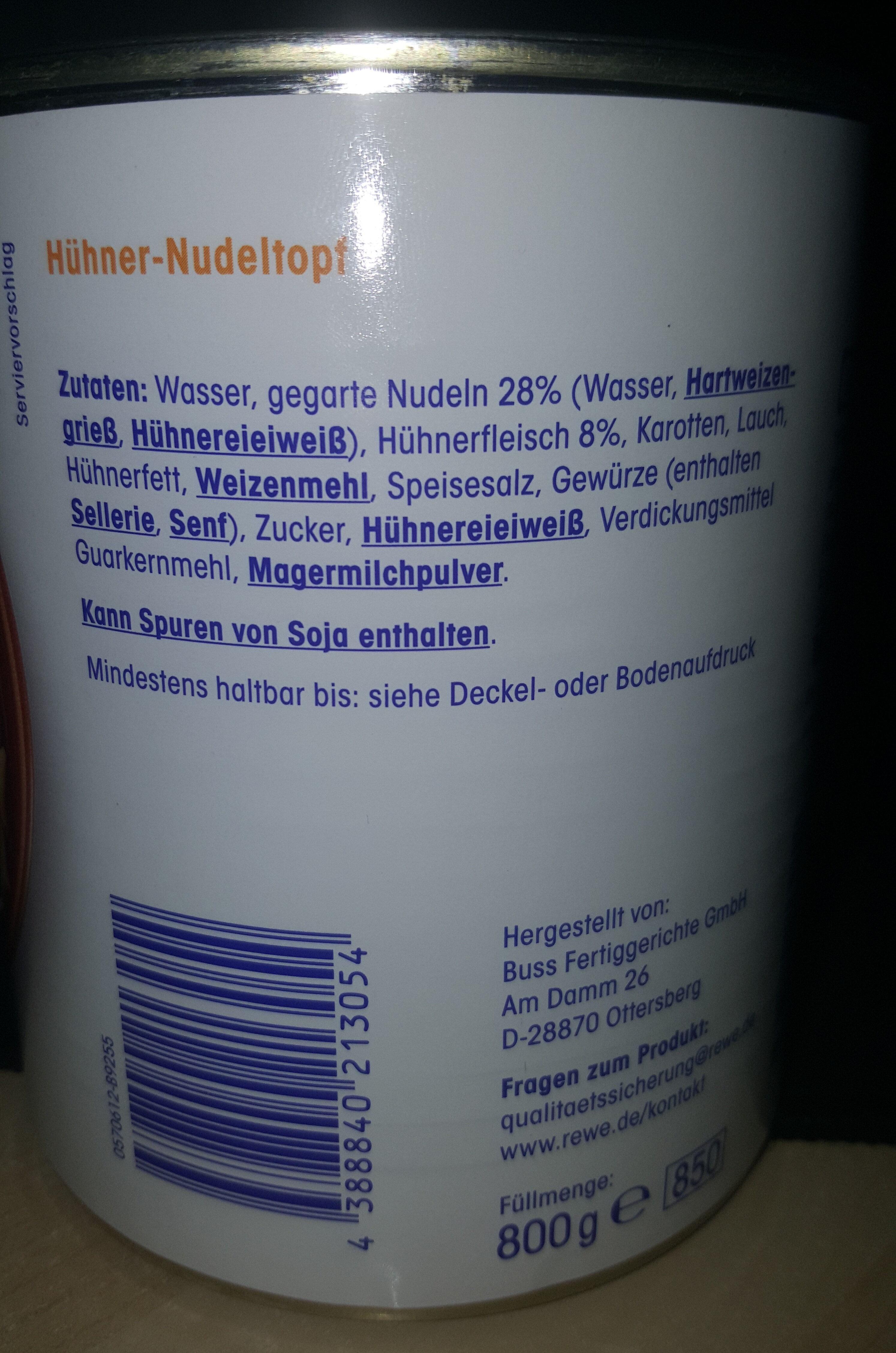 Huhner nudeltopf - Ingredients - de