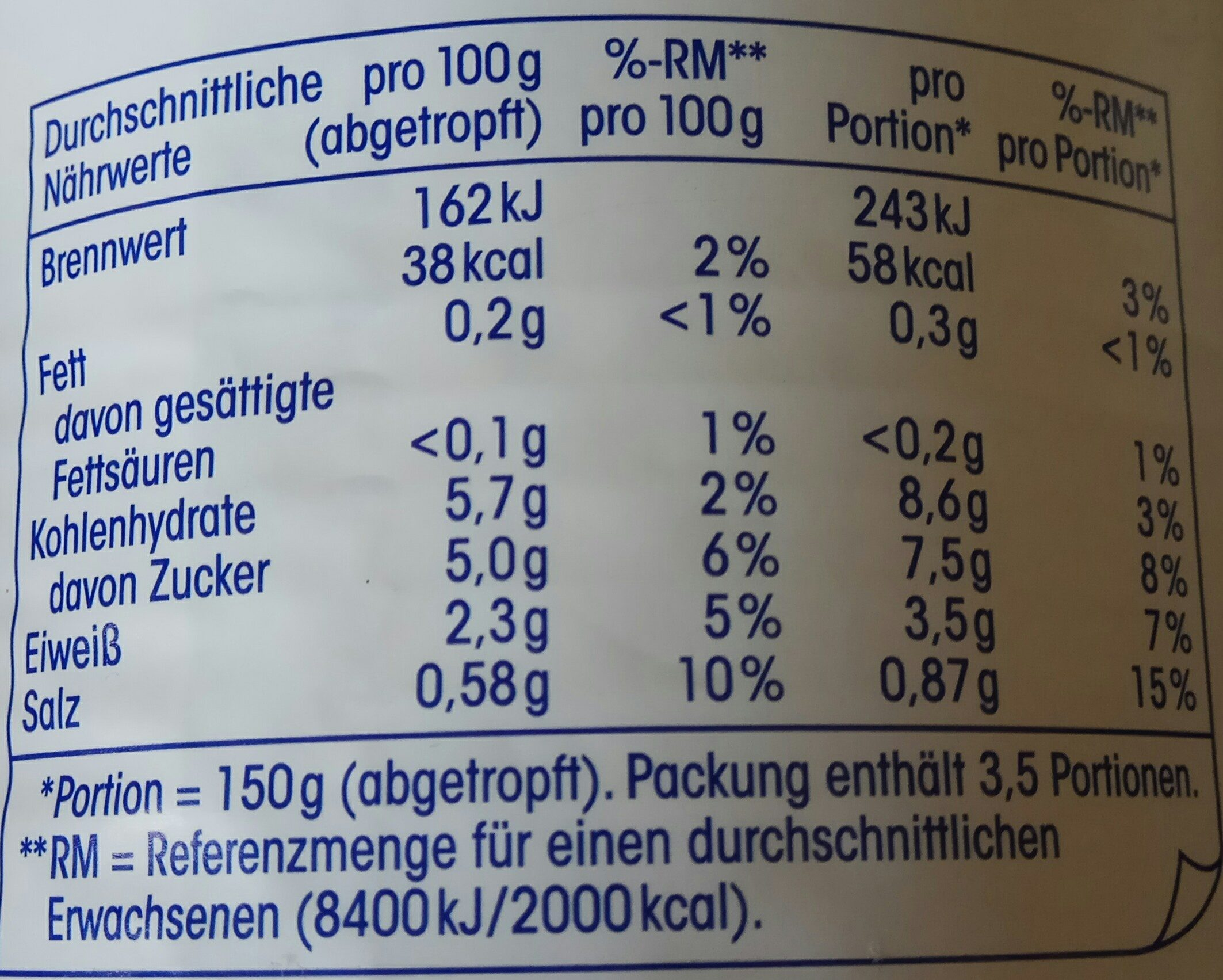Erbsen extra fein mit jungen möhren sehr fein - Informations nutritionnelles - de