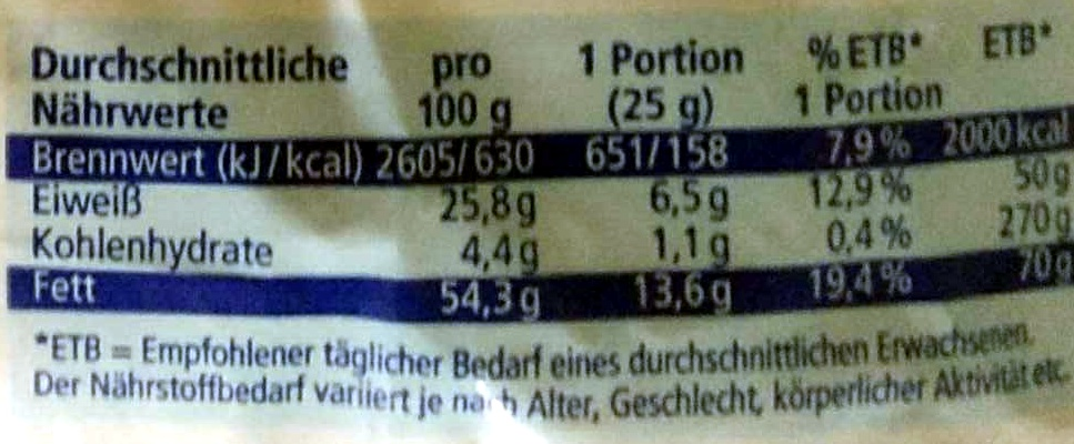 Süße Mandeln - Ja! - 200G - Informations nutritionnelles