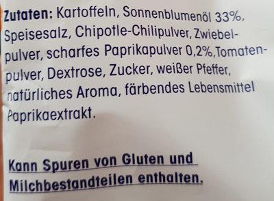 Kartoffelchips mit Paprika-Geschmack - Inhaltsstoffe