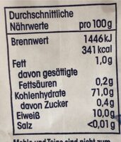 Weizenmehl - Nutrition facts - de