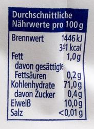 Weizenmehl Type 405 - 营养成分
