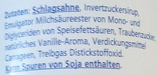 Sprühsahne - Ingredients - de
