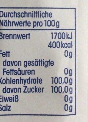 Raffinade-Zucker - Nutrition facts - de