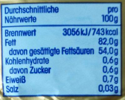 ja! Deutsche Markenbutter mild gesäuert - Nutrition facts - de