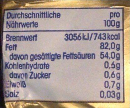 Butter - Nutrition facts - de
