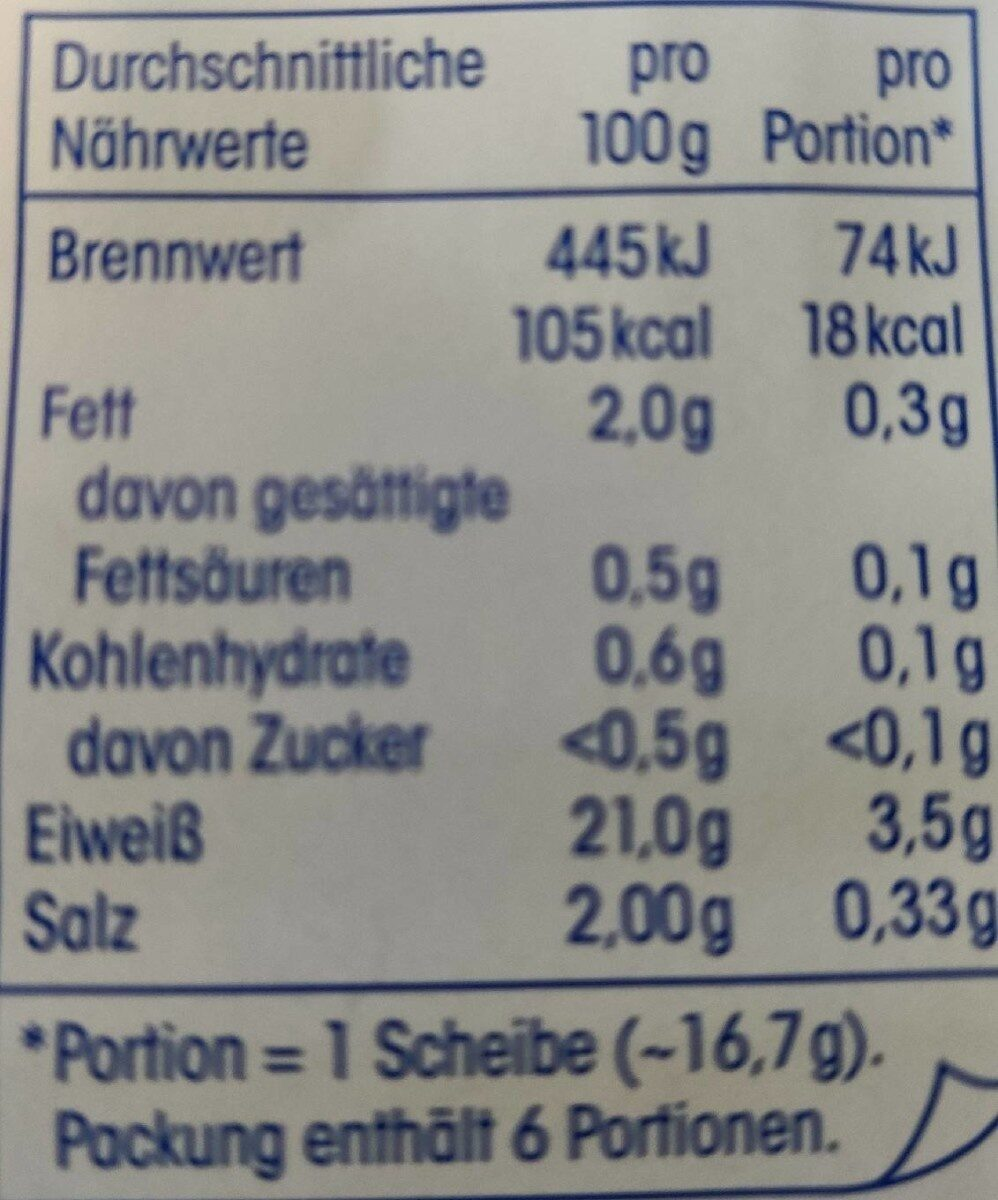 Delikatess Hähnchenbrustfilet - Nutrition facts - de