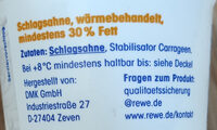 Schlagsahne - Ingredients - de