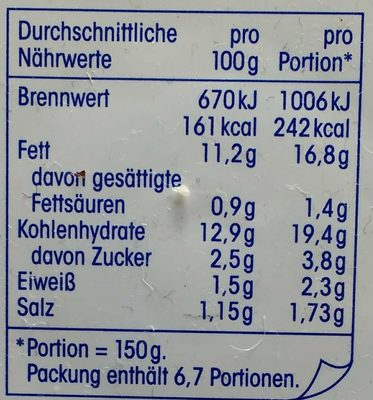 Klassischer Kartoffelsalat - Nährwertangaben